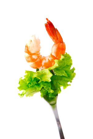 Shrimp with salad on a plug.  Stock Photo