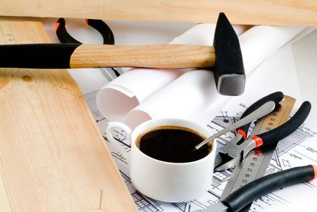 vellum: Working tools with a cup of coffee.
