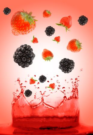 berry falling in juice.