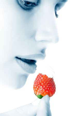 The girl with a strawberry photo