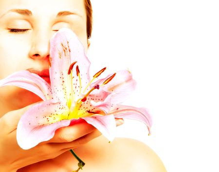 Beautiful woman with lily flower photo