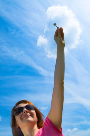 hand holding keys,blue skies in the background Stock Photo - 3247283
