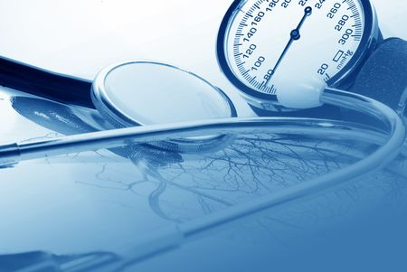 conduction: medical report and sphygmomanometer
