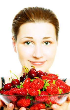 woman with berries. Isolation on white photo