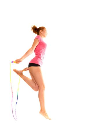 girl with  skipping rope. Isolation on the white photo