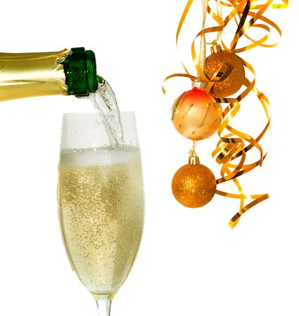 customs and celebrations: Glass of champagne with  New Years decor. Isolation