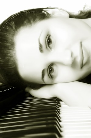 beautiful girl for the piano photo