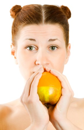chomp: woman with fruit in hands. Isolation on the white