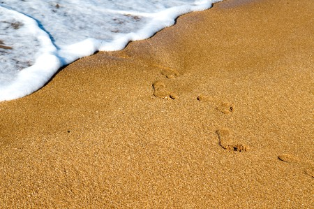 Traces on sand. Ocean photo
