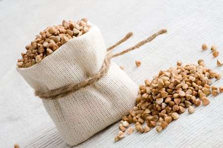 buckwheat: raw buckwheat in small sack
