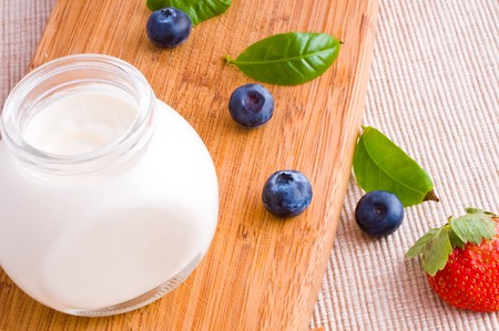 fresh yoghurt with fruit and berry  photo