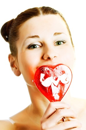 woman portrait with heart shaped lollipops Stock Photo - 4241665