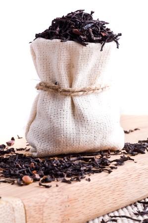 raw tea in small sack Stock Photo - 4247328