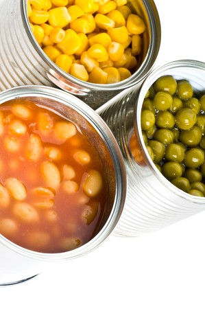 canned food: Tin. Isolation on the white.