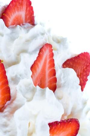 sweet segments: Ripe fresh strawberry. on cream