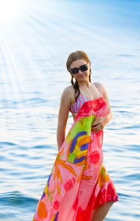 beautiful woman in a sea photo