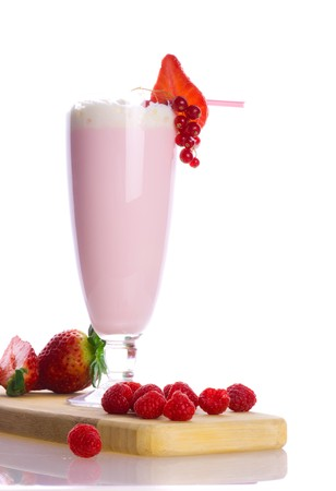 Dairy cocktail with berries. Isolation on the white Stock Photo