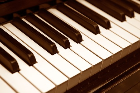 old Piano keys side view Stock Photo - 4513345