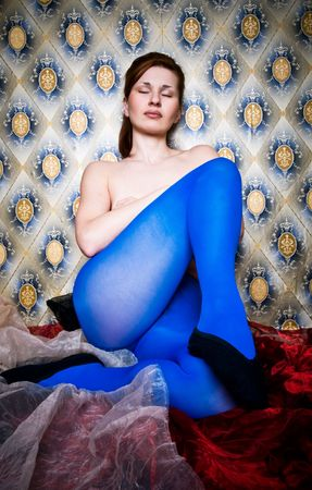 panty hose: attractive retro girl in blue dress Stock Photo