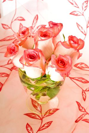 Bouquet of beautiful roses in a vase Stock Photo