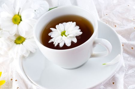Natural tea with a camomile and flower  Stock Photo - 4808638