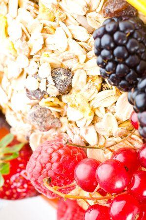 musli: musli and fresh berries isolated