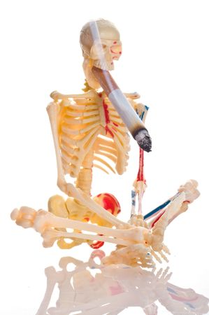 Cigarette and skeleton. Isolation on the white Stock Photo - 4847385