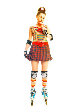 pretty young woman with roller skates  photo