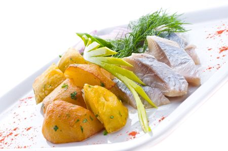 Fish allsorts with vegetables photo