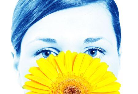 Beautiful woman with gerbera flower Stock Photo - 4864052