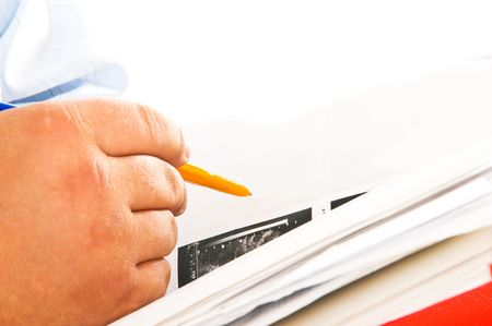 businessman with a folder in hands Stock Photo - 4869339