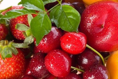 Fresh berries and fruit in assortment photo