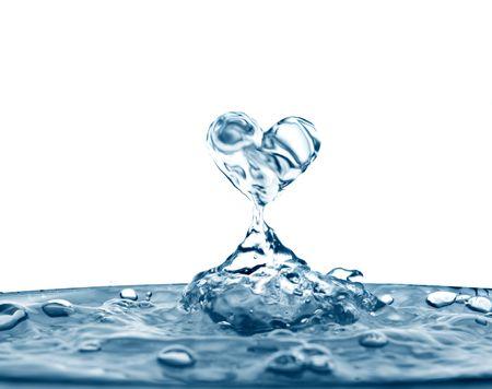 corazones azules: Hermoso salpicaduras de agua limpia