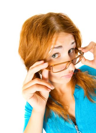 crazy girl in glasses isolated  photo