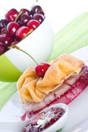 bign�: Frittelle dolci con ciliegia