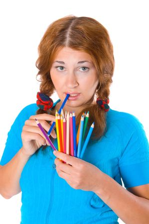 finders: girl with color pencils  Stock Photo