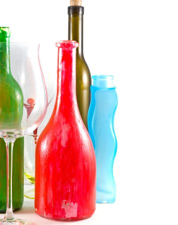 rainbow cocktail: wines collection isolated on white