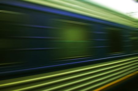 moves: train moves on a rail way.