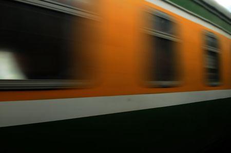 train moves on a rail way. Stock Photo - 5351814