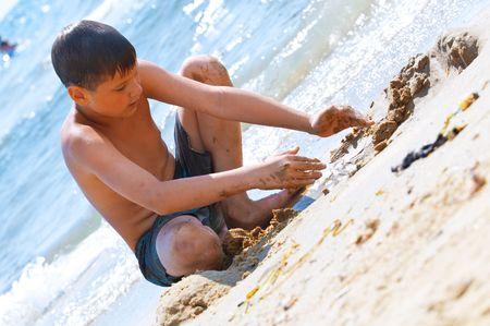 Kids at the beach  photo