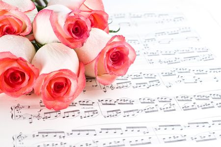 white sheet: Musical sheet and flowers of roses