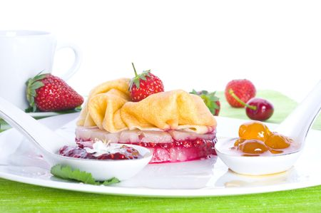 Fritters with sweet cherry and sirop  Stock Photo - 5374956