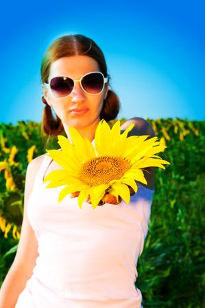 girl with a sunflower against the sky photo