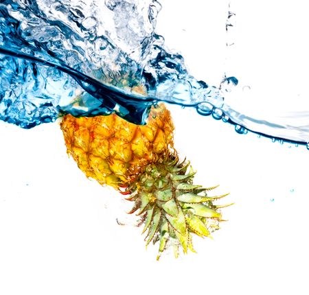 Beautiful splashes a clean water and fruit  photo