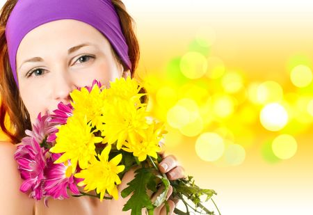 young woman face with flowers   photo
