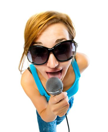 beautiful sexual girl with a microphone photo