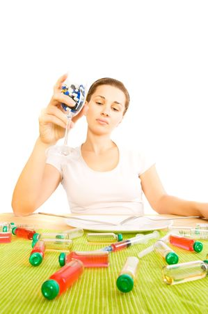woman and pill close up Stock Photo - 5678071