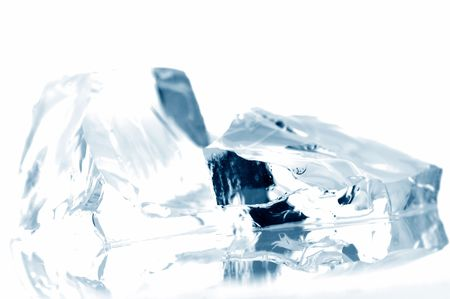 refrigerate: ice cubes in blue light Stock Photo
