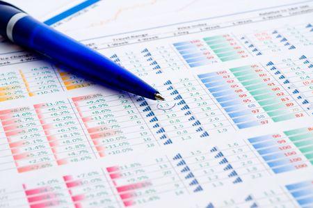 equities: financial figures and pen