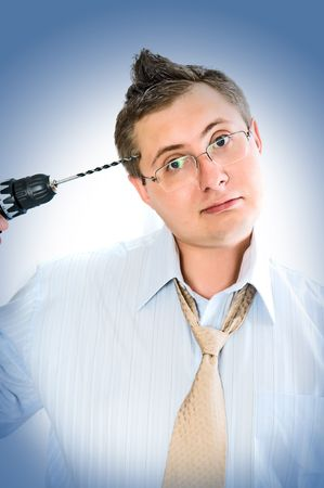 crazy man with drill Stock Photo - 5743079